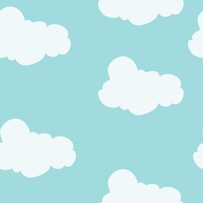 Clouds in Aqua // Repeating pattern for Wallpaper or Children's fabrics // Nursery print by Zoe Charlotte