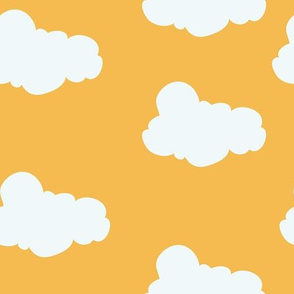 Clouds in Gold // Repeating pattern for Wallpaper or Children's fabrics // Nursery print by Zoe Charlotte