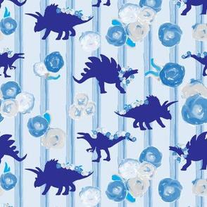 16-05f Large Royal Dinosaur Sky Blue Painted Stripe || Floral Botanical Flower Garland _ Miss Chiff Designs