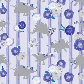 15-06C Girl Dinosaurs  Painted Floral  8 x6 || Gray Grey  Blue Periwinkle Purple Lavender Lilac Watercolor Stripe  _ Miss Chiff Designs