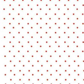 red polka on white