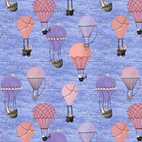 Woodland Animal Hot Air Balloon Night Adventure in pink and purple on light background 5 inch / kids, baby girl, nursery, vintage