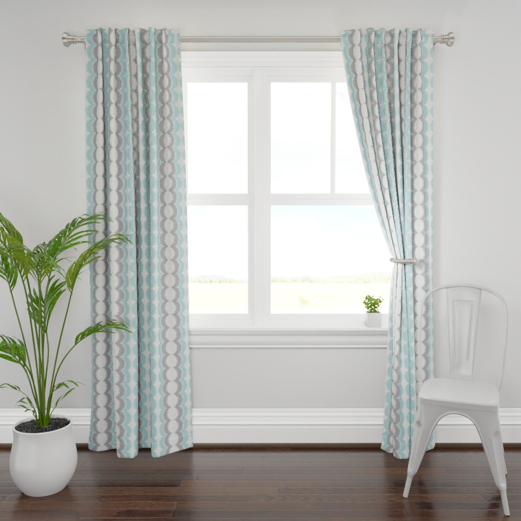 Plymouth Curtain Panel featuring Wave Vertical Ikat - Blue and Gray by boxwood_press