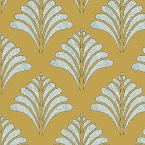 Mustard and Silver Vintage Inspired  Pattern