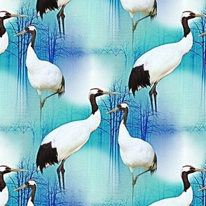 cranes on the pond