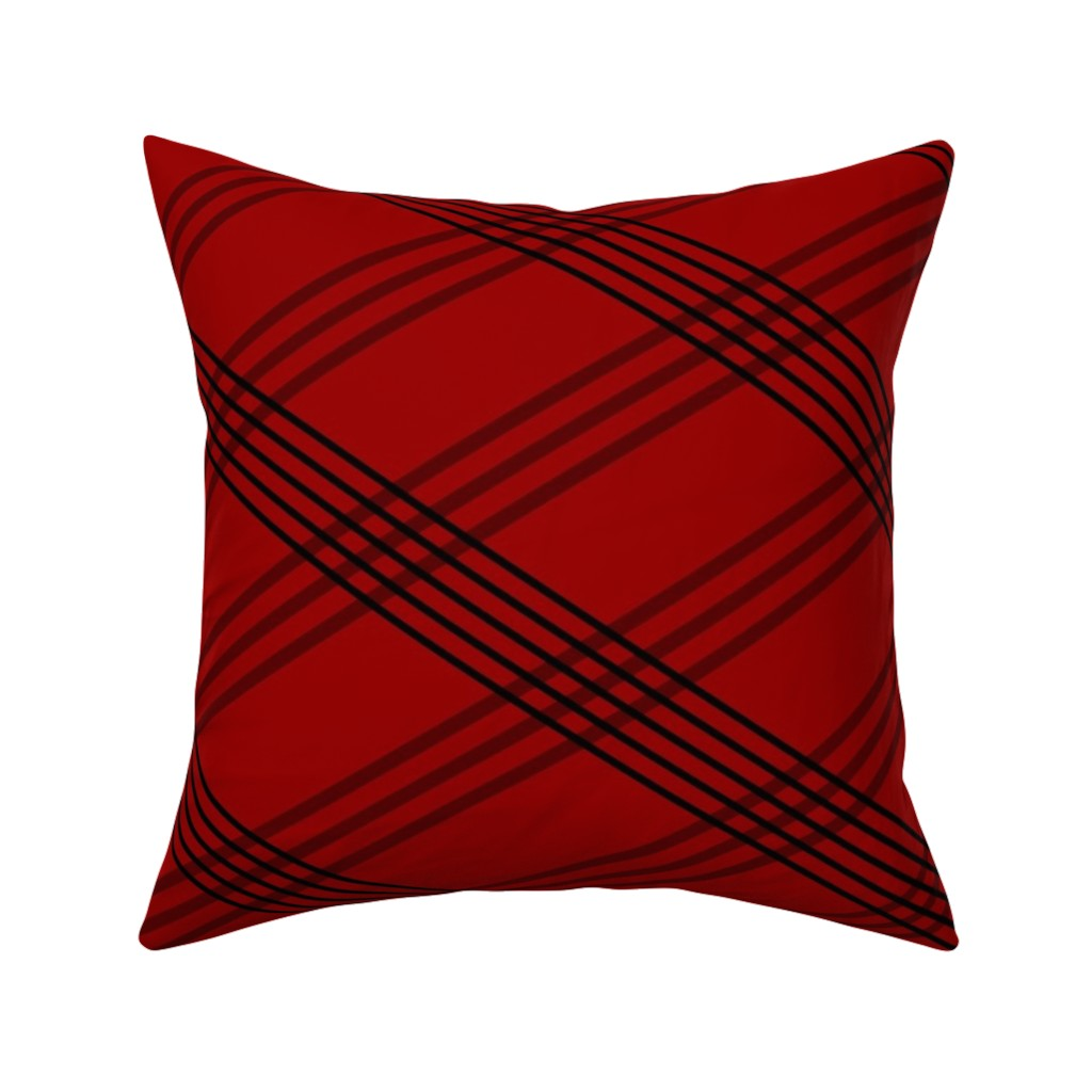 Catalan Throw Pillow featuring Diagonal_Lines_red-coord3 by deanna_konz