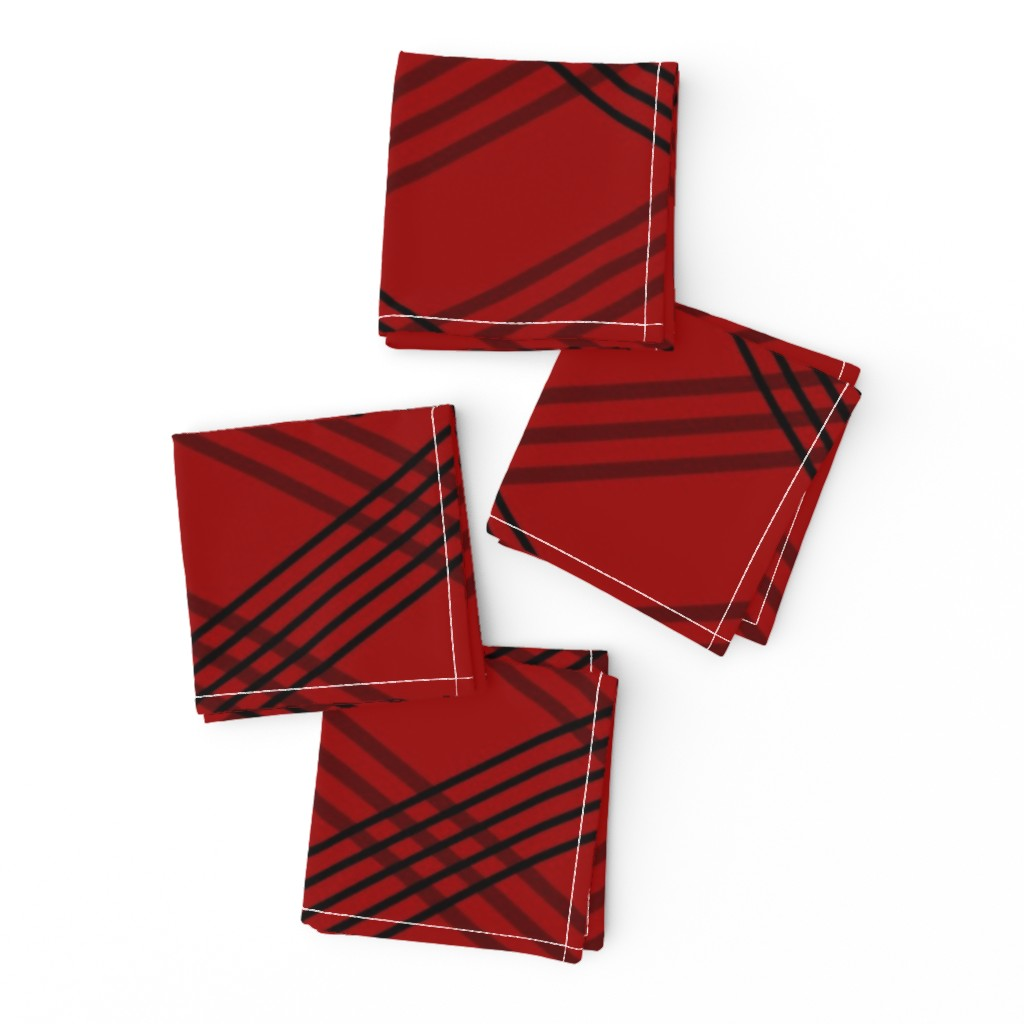 Frizzle Cocktail Napkins featuring Diagonal_Lines_red-coord3 by deanna_konz