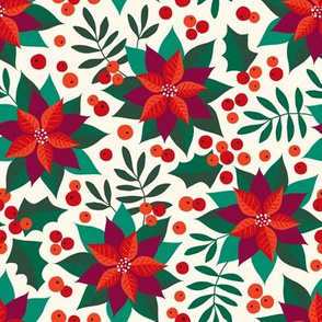 Poinsettia christmas red on creme