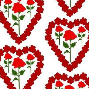 Valentines Hearts Red Roses and Hearts Fabric #3