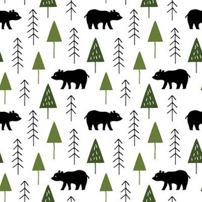 Alpine winter forest with bears