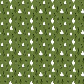 Alpine winter forest on olive