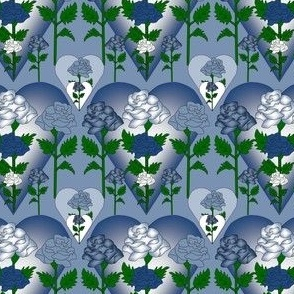 Valentines Blue and White Roses and Hearts Fabric