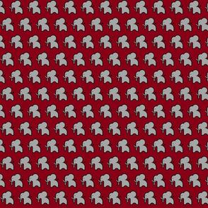 Grey elephant on crimson - smaller print