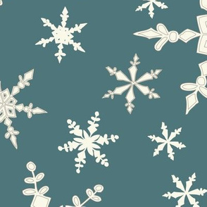 Snowflakes - Large - Ivory, Teal