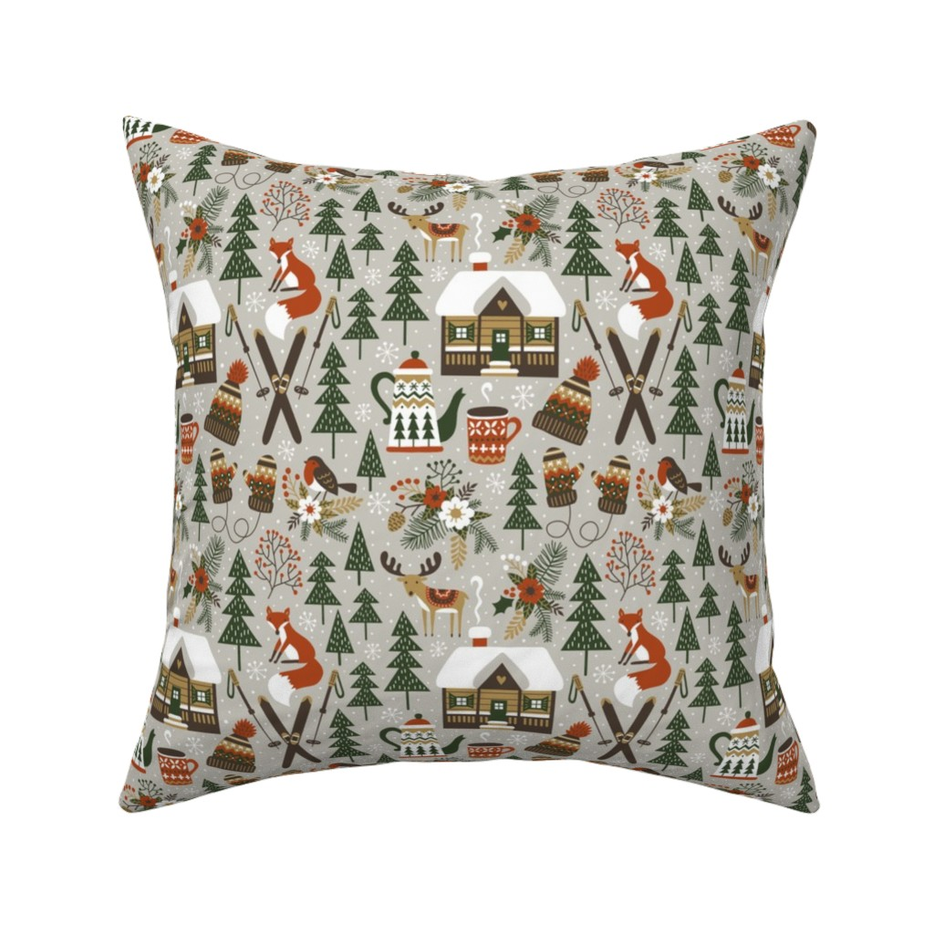 Catalan Throw Pillow featuring cozy chalet - small, warm light gray by mirabelleprint