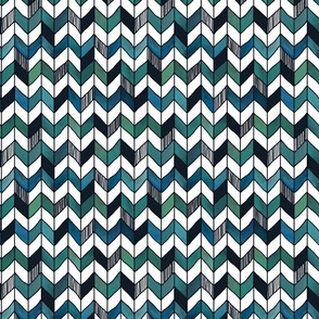 Medium 1 inch Hand-Painted Herringbone Chevron White, Turquoise, and Emerald, aqua with whimsical lines, stripe pattern,  playful,  baby boy, blue check , blue plaid