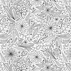 black and white leaves and flowers