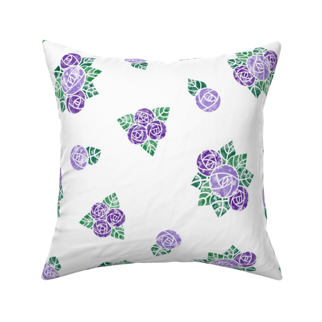 Catalan Throw Pillow featuring Craftsmen Round Roses White Purple by wickedrefined