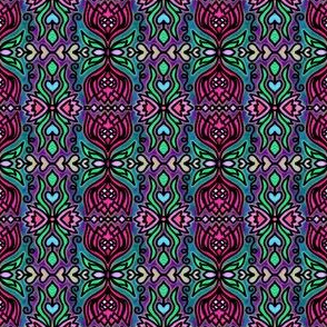 Dark Purple Stained Glass | Fuchsia Lilies