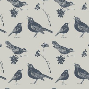 Birds and Daisies (drawing, vintage blue on gray)