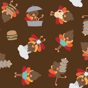 turkeys in the kitchen