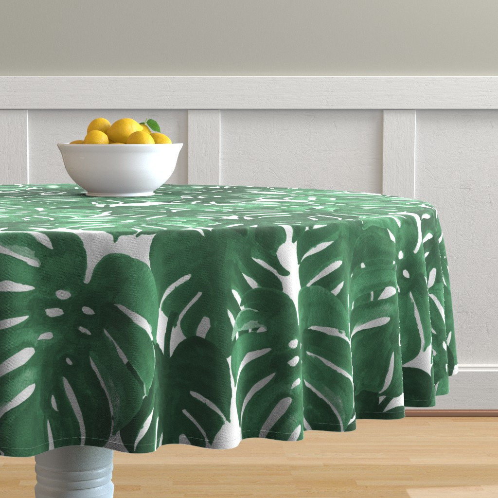 Malay Round Tablecloth featuring monstera cheese plant painted tropical palms botanical tropical palm springs trendy plants cactus succulents plants - EXTRA LARGE PRINT by charlottewinter