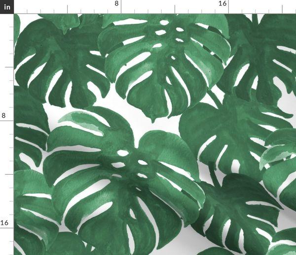 Stoff Meterware Monster Tropisch Palme Palmen Palmenblätter Handabdruck Monstera