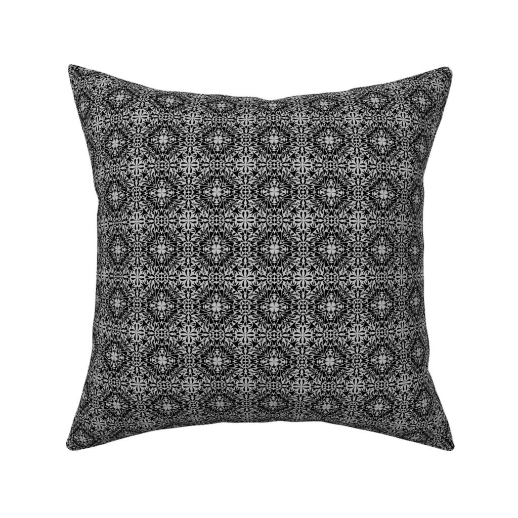 Catalan Throw Pillow featuring Black_ Mosaic Design_on_Grey by artonfabric