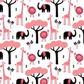 Baby african summer zoo animals giraffe elephant and lion safari kids beige girls pink SMALL