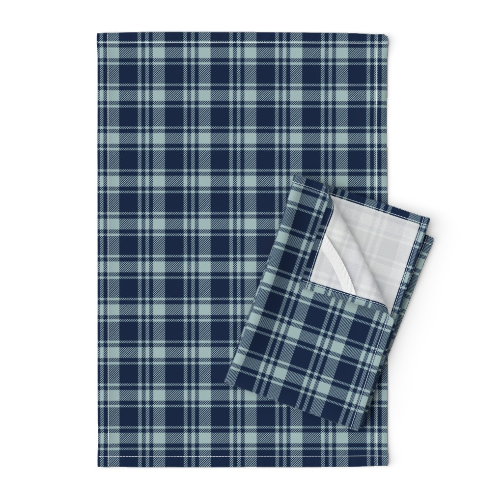 Orpington Tea Towels featuring fall plaid || dusty blue and navy - happy camper wholecloth coordinate fabric by littlearrowdesign