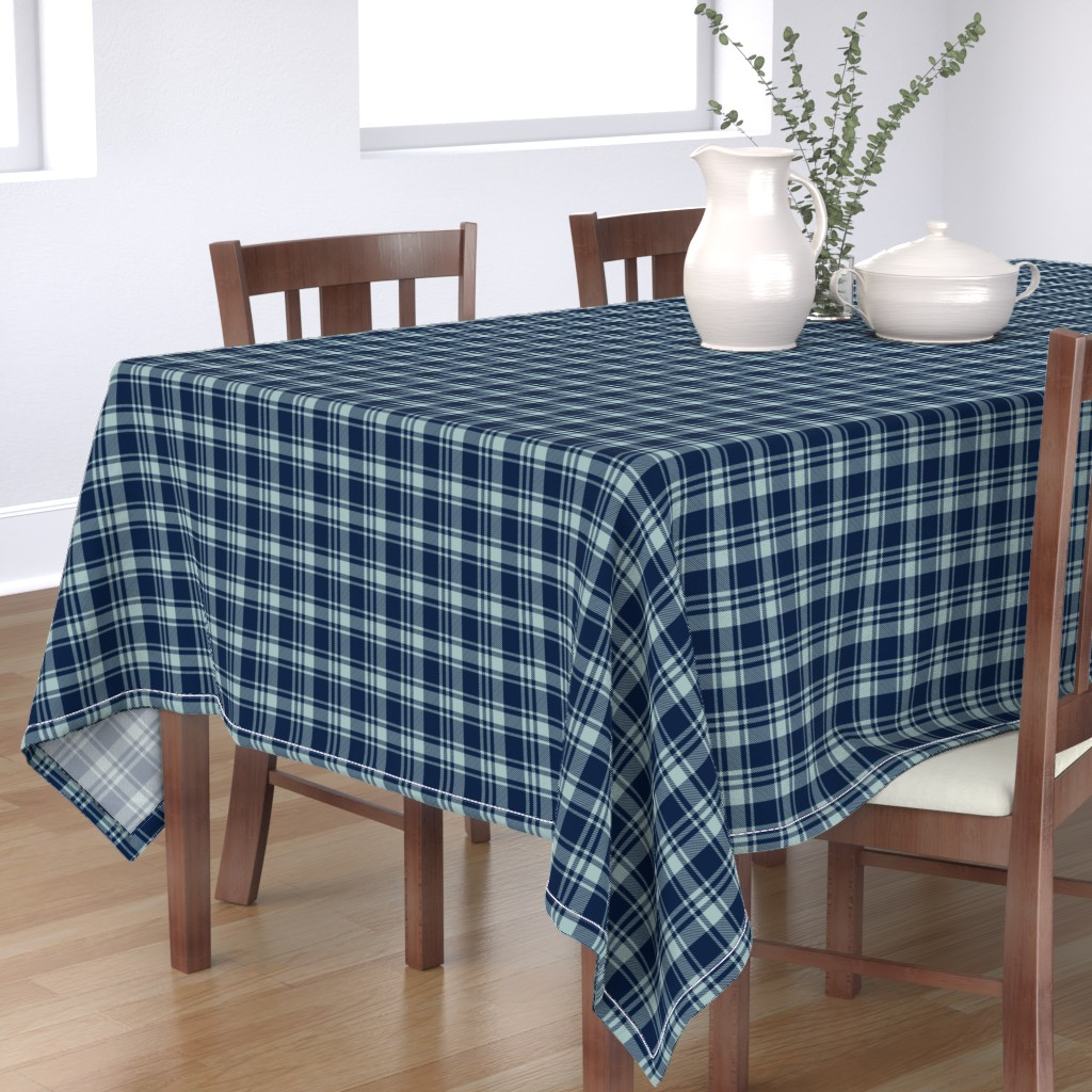 Bantam Rectangular Tablecloth featuring fall plaid || dusty blue and navy - happy camper wholecloth coordinate fabric by littlearrowdesign