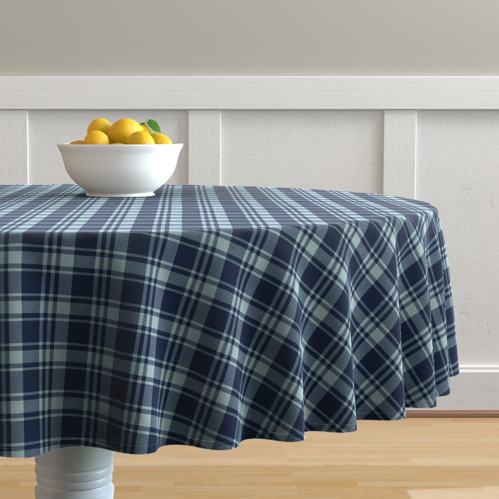 Malay Round Tablecloth featuring fall plaid || dusty blue and navy - happy camper wholecloth coordinate fabric by littlearrowdesign