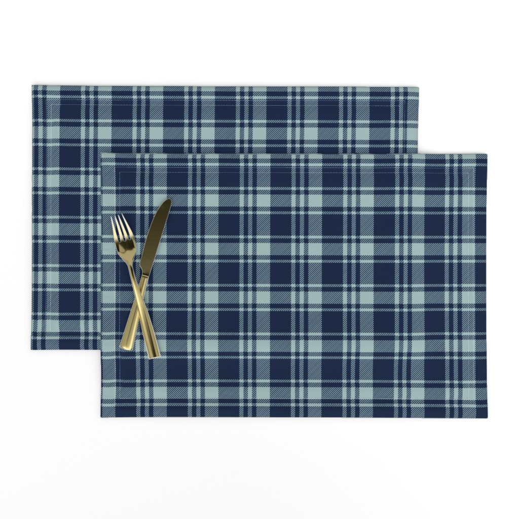 Lamona Cloth Placemats featuring fall plaid || dusty blue and navy - happy camper wholecloth coordinate fabric by littlearrowdesign