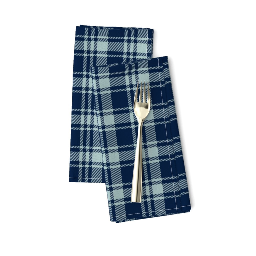 Amarela Dinner Napkins featuring fall plaid || dusty blue and navy - happy camper wholecloth coordinate fabric by littlearrowdesign