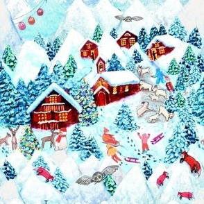 Scandinavian snow Day fun// Alpine village //  Mountains // Christmas kids // Reindeer // Holiday // CHristmas animals // ski lodge