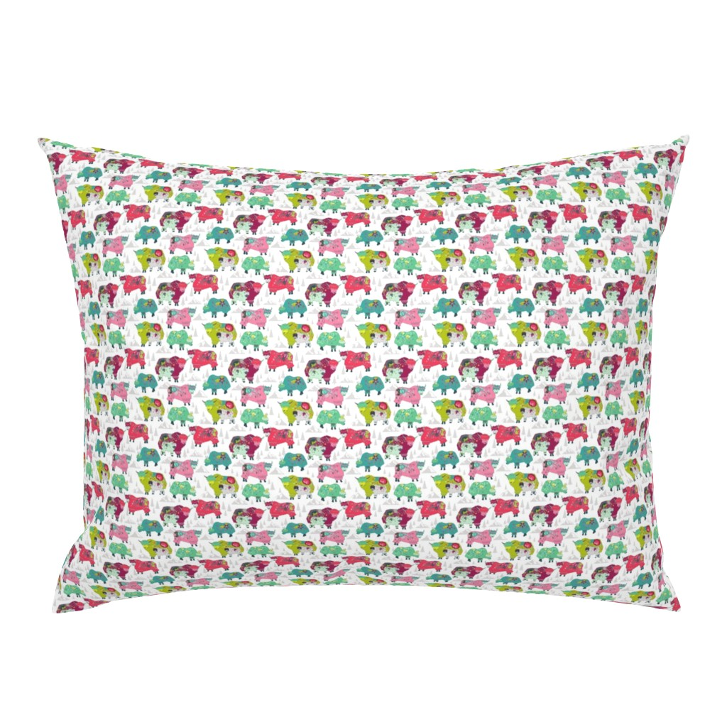 Campine Pillow Sham featuring Alpine Yaks by actuallycharming