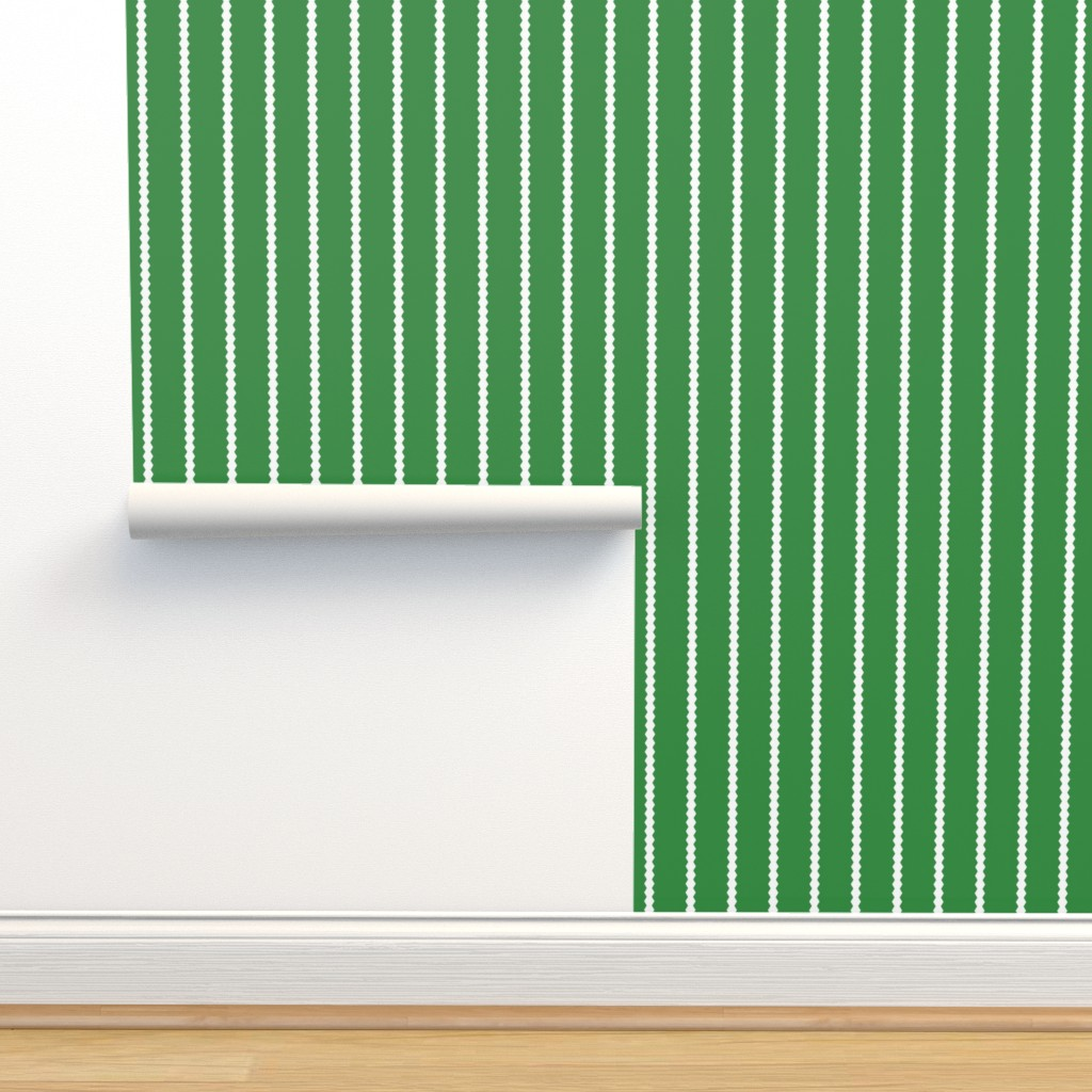 Isobar Durable Wallpaper featuring Holiday Hexies Green Stripe by anniecdesigns