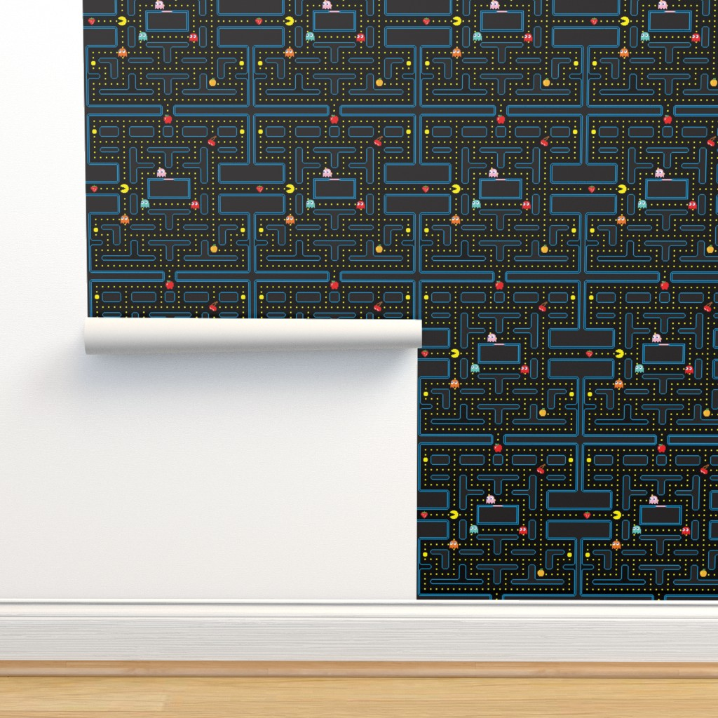 Isobar Durable Wallpaper featuring Pacman Retro Video Game Pattern by furbuddy