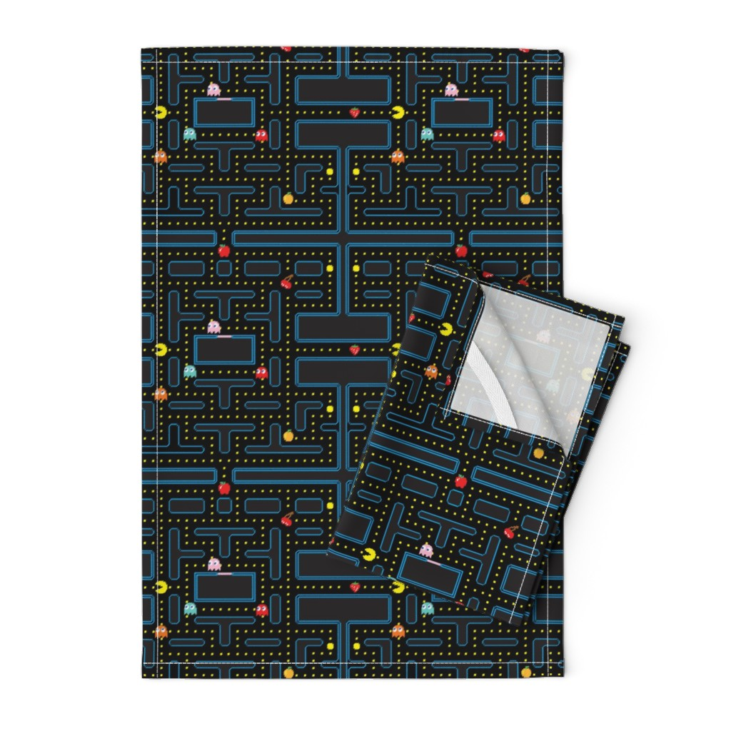 Orpington Tea Towels featuring Pacman Retro Video Game Pattern by furbuddy