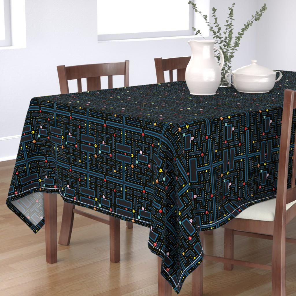 Bantam Rectangular Tablecloth featuring Pacman Retro Video Game Pattern by furbuddy