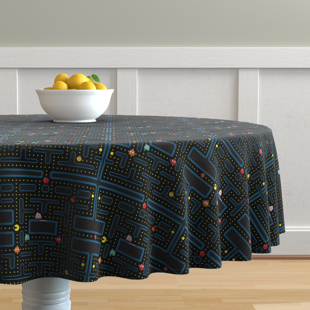 Malay Round Tablecloth featuring Pacman Retro Video Game Pattern by furbuddy