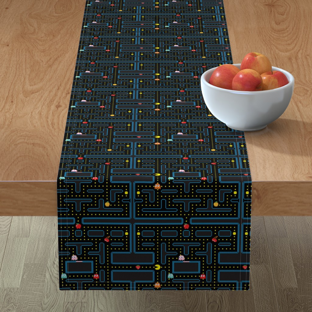 Minorca Table Runner featuring Pacman Retro Video Game Pattern by furbuddy