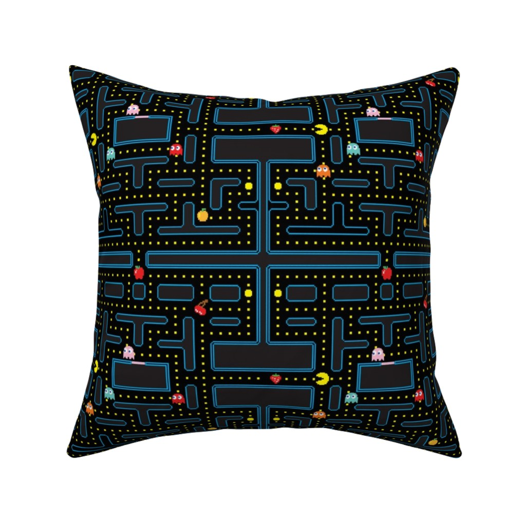 Catalan Throw Pillow featuring Pacman Retro Video Game Pattern by furbuddy