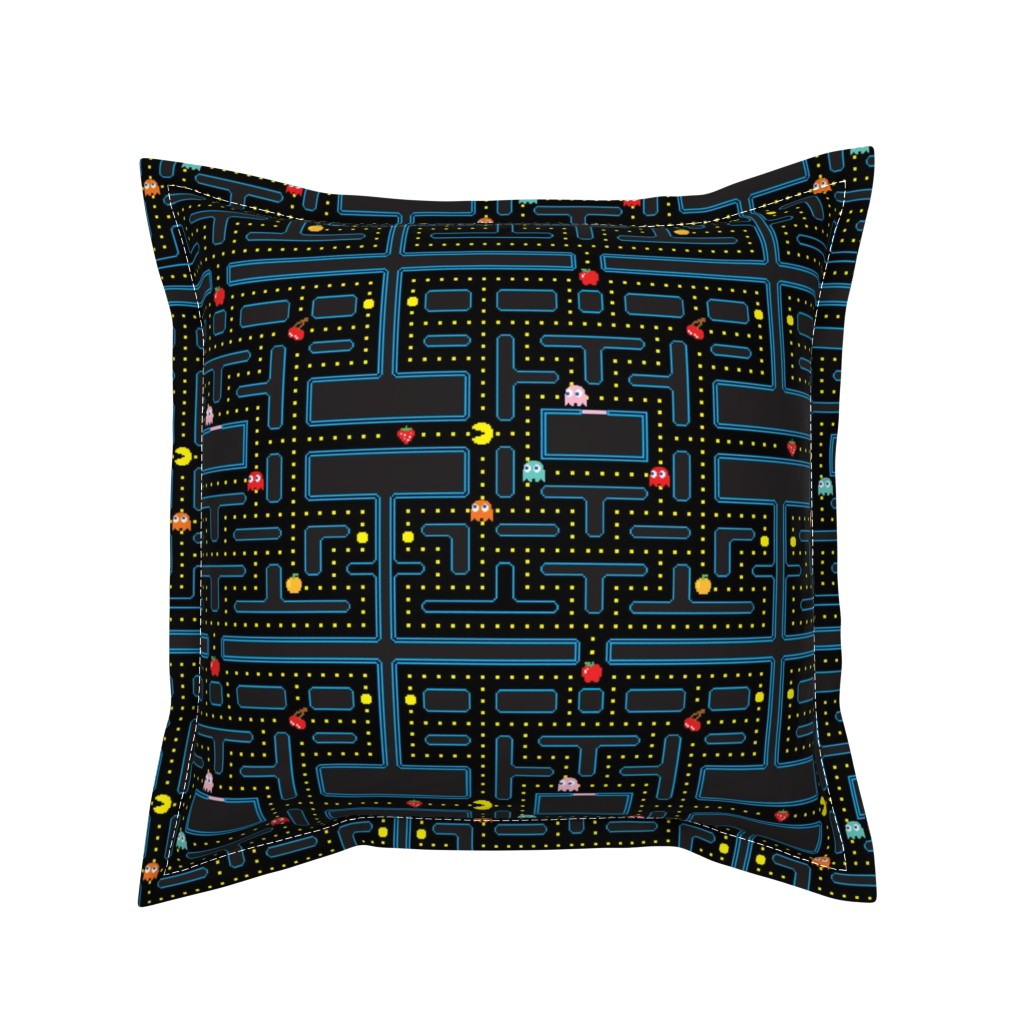 Serama Throw Pillow featuring Pacman Retro Video Game Pattern by furbuddy