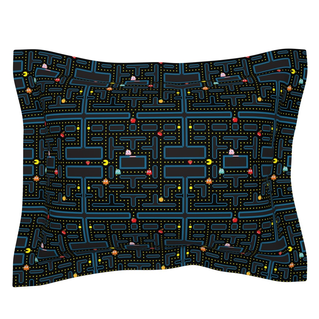 Sebright Pillow Sham featuring Pacman Retro Video Game Pattern by furbuddy