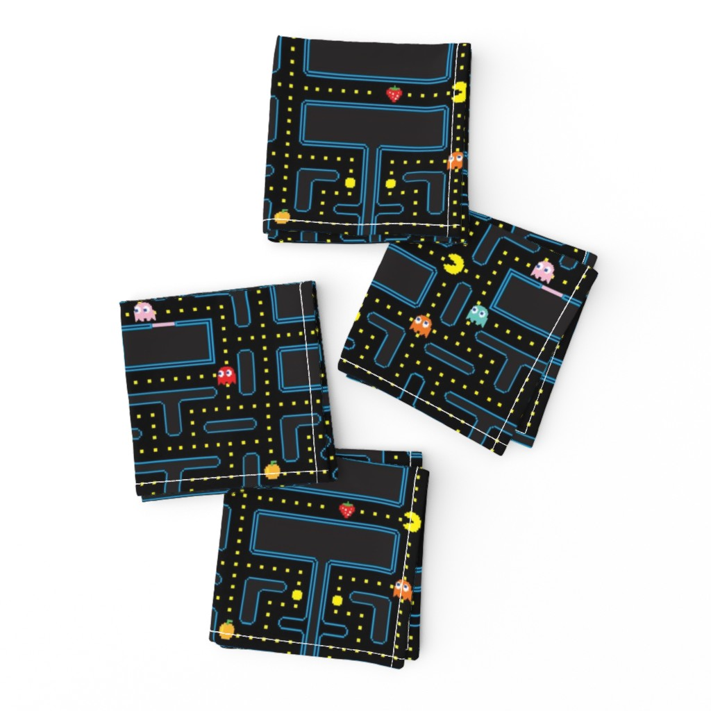 Frizzle Cocktail Napkins featuring Pacman Retro Video Game Pattern by furbuddy