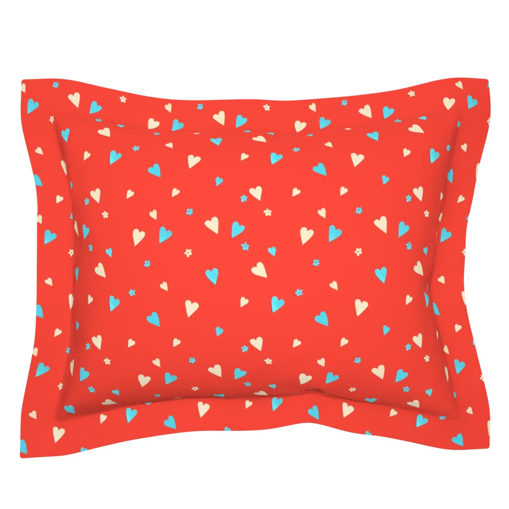 Sebright Pillow Sham featuring Day Of The Dead Scatter Hearts by imagineattic