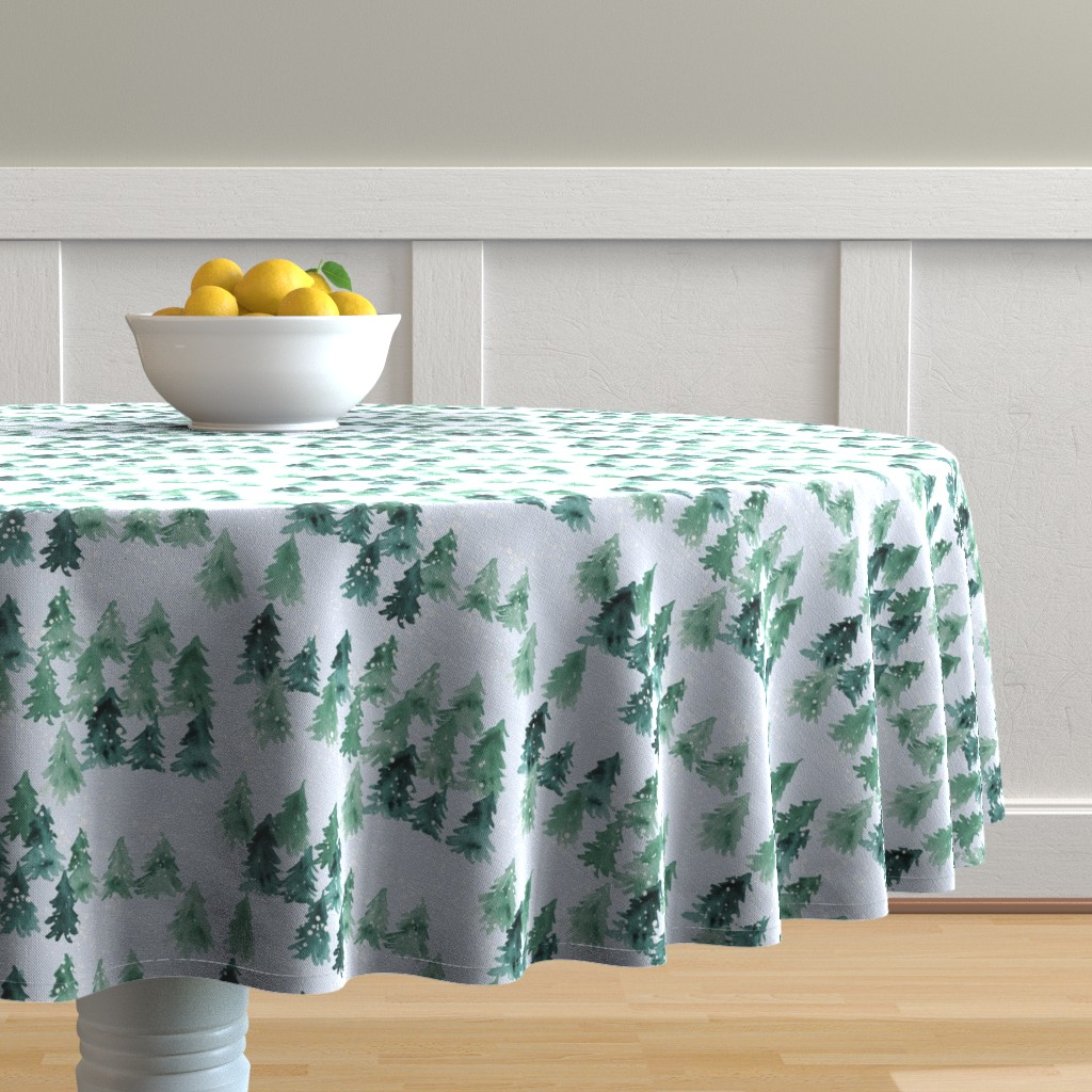 Malay Round Tablecloth featuring Chalet_View by joy&ink
