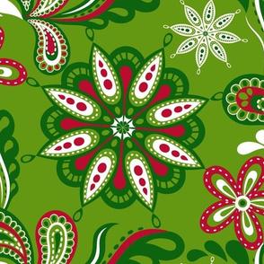 Green, Red, and White Christmas Mandala