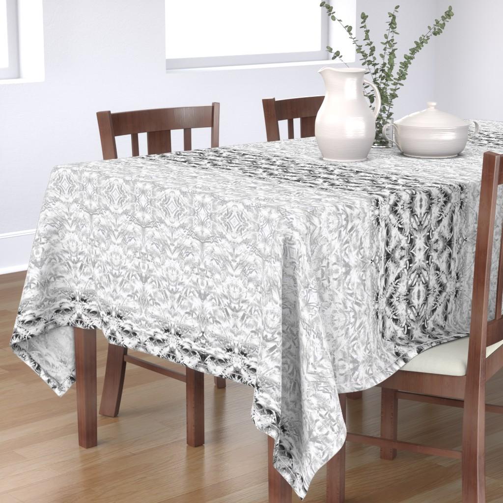 Bantam Rectangular Tablecloth featuring Mariposa Black & White by lauradavisartstudio